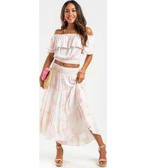 layla smocked flowy maxi skirt - pink