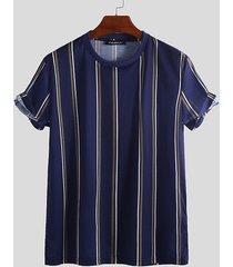 basics incerun camiseta casual de manga corta de rayas verticales para hombre