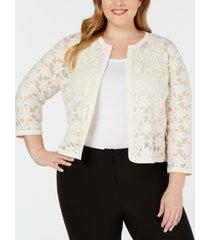 anne klein plus size embroidered cardigan