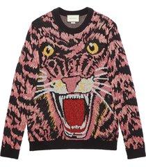 gucci lurex wool tiger sweater - black