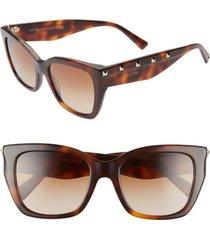 valentino 53mm rockstud cat eye sunglasses in brown/havana at nordstrom