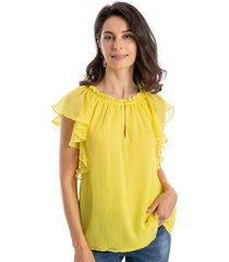 blusa cuello vuelos amarillo nicopoly