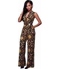 new ladies white yellow tapestry print belted sleeveless deep v jumpsuit size s