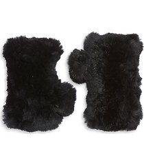 women's dyed rabbit fur fingerless gloves