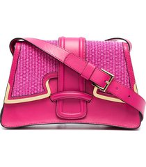 alberta ferretti woven panel shoulder bag - pink