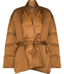 holden tie-waist quilted jacket - brown