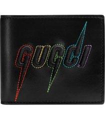 men's gucci blade embroidered wallet - black