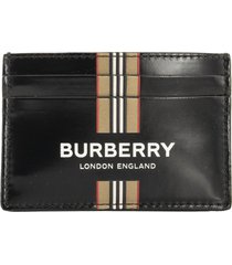 burberry sandon logo and icon stripe print coated canvas card case