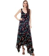vestido longo 101 resort wear com saia em pontas viscose estampada borboletas fundo preto