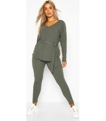 plus soft rib top & legging co-ord, khaki
