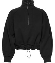 double jersey cropped sweat sweat-shirt tröja svart karl lagerfeld