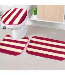 jogo de tapetes para banheiro tapetes junior tecil pop em poliéster topázio vermelho antiderrapante 3 peças