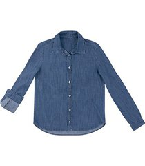 camisa jeans manga longa hering feminina