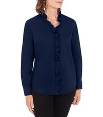 women's foxcroft gwen stretch ruffle button-up shirt, size 10 - blue