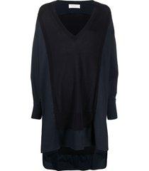 société anonyme frayed panel v-neck dress - blue