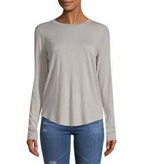 vince women's long-sleeve crewneck top - heather grey - size xs