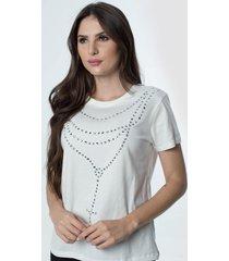 t-shirt daniela cristina gola u 06 602dc10281 branco - branco - feminino - dafiti
