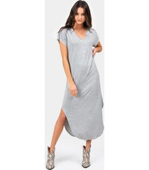 piper v-neck knit maxi dress - heather gray