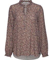 d lla print blouse blouse lange mouwen bruin andiata