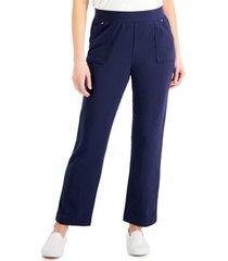 karen scott petite high-rise pull-on pants, created for macy's