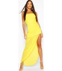 chiffon draped corset maxi dress, yellow