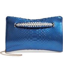 jimmy choo genuine python clutch with crystal bracelet -