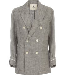 barena riccarda pied de poule double breasted jacket loose fit