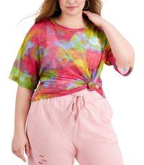full circle trends trendy plus size printed mesh top