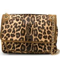 saint laurent niki leopard shoulder bag - brown