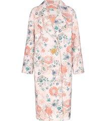 peter pilotto bouclé floral jewel button coat - multicolour