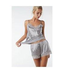 shorts de pijama de seda - cinza g
