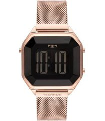 relógio technos crystal aço feminino