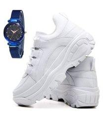 tênis sapatênis casual plataforma fashion com relógio sky feminino dubuy 728el branco