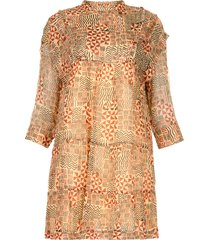 jurk met azteken print mahaut  beige