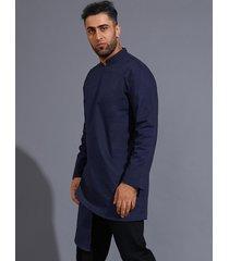 hombres otoño estilo medio oriente cuello alto botón liso frente camisa