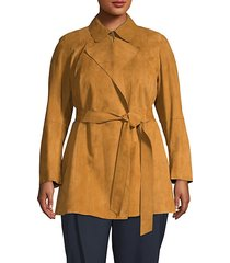 point collar suede trench coat