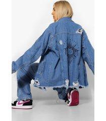 gebleekte oversized california hoodie, blauw