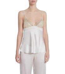 la perla women's petit macramé silk-blend camisole top - natural - size m