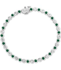 effy emerald (1-1/6 ct. t.w.) and diamond (3/4 ct. t.w.) bangle bracelet in 14k white gold