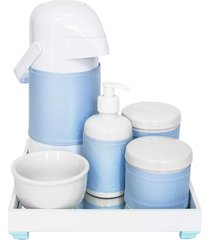 kit higiene espelho completo porcelanas, garrafa e capa azul quarto bebê menino