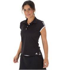 camisa polo adidas club 3s - feminina - preto