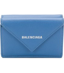 balenciaga papier mini wallet - blue