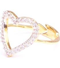 anel boca santa coração flechado - ouro amarelo