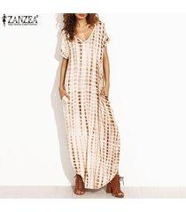 zanzea más el tamaño s-5xl de verano vestidos de las mujeres del tinte cara de impresión de split flojo vestido largo curvados hem manga corta de impresión vestido maxi (caqui) -beige