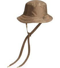 men's gucci reversible gg canvas & nylon bucket hat - brown