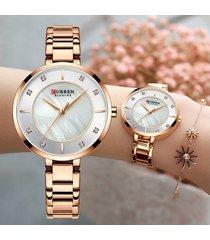 reloj mujer análogo oro rosa curren moda cristal diamante