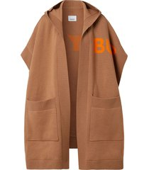 burberry horseferry print hooded cape - brown