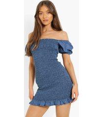 geplooide chambray mini jurk, mid blue
