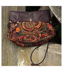 leather accent embroidered shoulder bag, 'mandarin smile' (thailand)