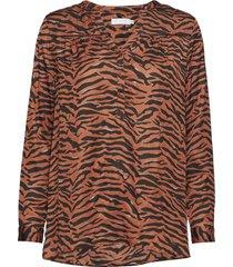 blouse w. zebra print blus långärmad orange coster copenhagen